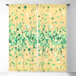 Summer breeze, abstract beach print in yellow and green Blackout Curtain