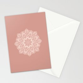 Flower Mandala in Peach and Powder Pink Stationery Cards