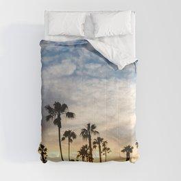 Palm Tree Love (blue and orange) Comforters