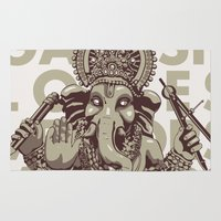 ganesh Area & Throw Rugs featuring Ganesh by _MattVector