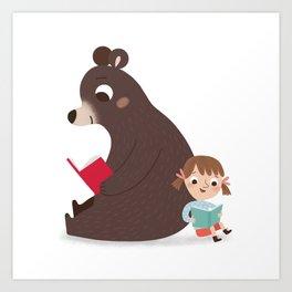 Reading with Bear Art Print