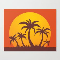 Palm Trees And Summer Sunset Canvas Print