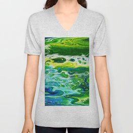Blue waves and green grass Unisex V-Neck