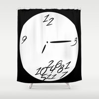 wall clock Shower Curtains featuring Clock by Chloe Cristina