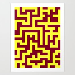 Electric Yellow and Burgundy Red Labyrinth Art Print