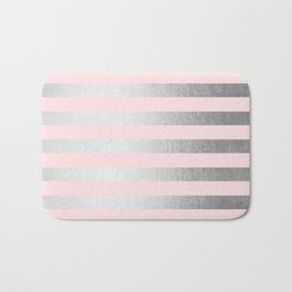 Stripes Moonlight Silver on Flamingo Pink Bath Mat
