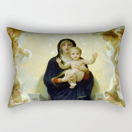 """William-Adolphe Bouguereau """"The Virgin with Angels"""" Rectangular Pillow"""