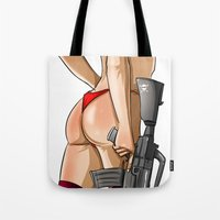soldier Tote Bags featuring soldier by ErsanYagiz