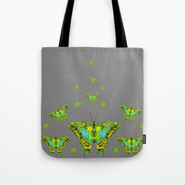BLUE-GREEN-YELLOW PATTERNED MOTHS ON GREY Tote Bag