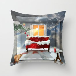 The desire for a white Christmas Throw Pillow