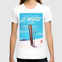St. Moritz Switzerland ski poster T-shirt