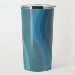 Zen Wavy Lines in Ocean Blue and Green Travel Mug