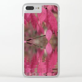 Red Autumn Leaf Reflections Clear iPhone Case