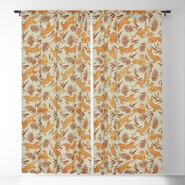 Vintage Golden Tigers Pattern / Big Cats, Leaves, Nature Blackout Curtain