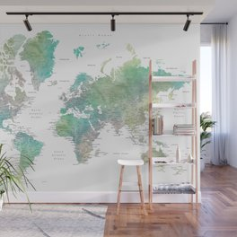 Watercolor world map in muted green and brown Wall Mural
