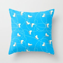 Winter Pattern Ice Skating Blue Background Throw Pillow