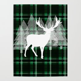 Green Plaid with Deer: Holiday Print Poster