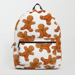 Sweet brown red christmas ginger bread man Backpack