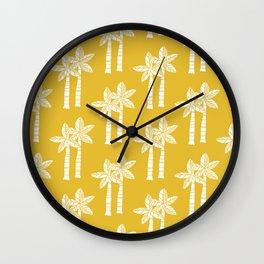 Palm Tree Pattern Mustard Yellow Wall Clock
