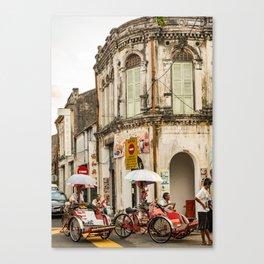George Town, Penang Trishaw Break 2 Canvas Print