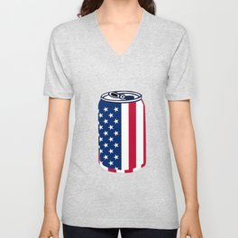 American Beer Can Flag Unisex V-Neck