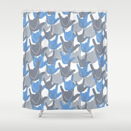 ASL I LOVE YOU HEARTS BLUE Shower Curtain