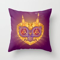 majora Throw Pillows featuring Steampunk Majora by Evan Ayres