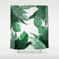 palm Shower Curtains featuring Tropical Palm Print by Tamsin Lucie