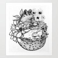 kitsune Art Prints featuring Kitsune by Owen Swerts