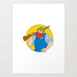 Paul Bunyan the Hunter Circle Drawing Art Print