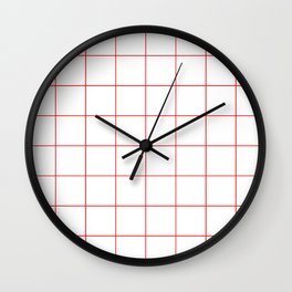 Graph Paper (Red & White Pattern) Wall Clock