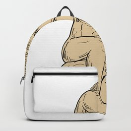 Man With Beard Sitting Thinking Drawing Backpack