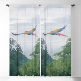 Red Macaw flying off in Costa Rica Blackout Curtain