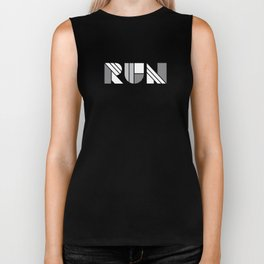 Run - Geometric Shapes ( White & Silver) Biker Tank