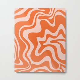 Retro Liquid Swirl Abstract Pattern in Orange and Pale Blush Pink Metal Print