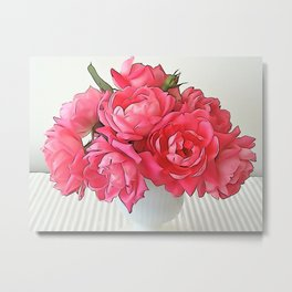 Pink Roses Bouquet PO Metal Print
