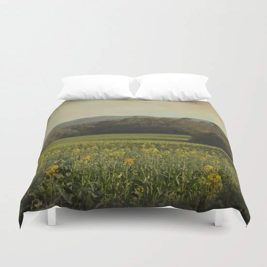 Once Upon a Time a Field of Flowers Duvet Cover