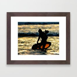 Greenough going out to film at sunset Framed Art Print