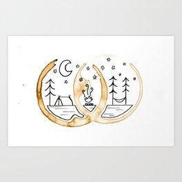 Camping Tea Stain Art Print