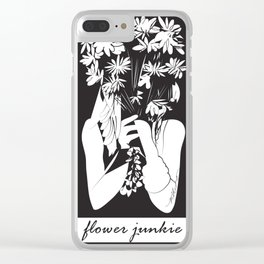 Flower Junkie - Black and White Digital Drawing of Girl holding Flowers Clear iPhone Case