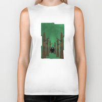 sasquatch Biker Tanks featuring Sasquatch in Trees by Ryan W. Bradley