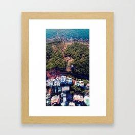 sea, forest, village Framed Art Print