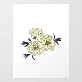 Botanical floral illustration line drawing - Peony Art Print