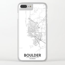 Minimal City Maps - Map Of Boulder, Colorado, United States Clear iPhone Case