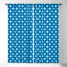 Shippo with Flower Motif, Indigo Blue and White Blackout Curtain