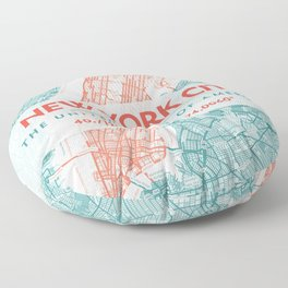 New York City Coral & Teal Turquoise Color Line Art, NYC Map Floor Pillow