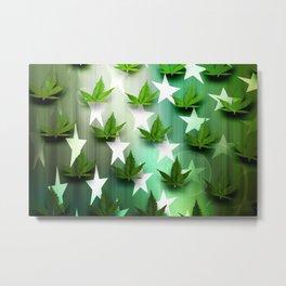 Patriotic Stars and Cannabis Design Metal Print