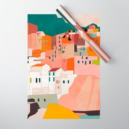 italy coast houses minimal abstract painting Wrapping Paper