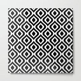 Mid Century Modern Diamond Ogee Pattern 126 Black and White Metal Print