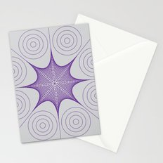 Purple Stretched Star with Circles Stationery Cards
